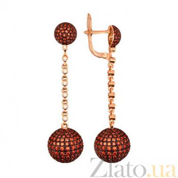 Серьги-подвески из красного золота с оранжевым цирконием Бритни VLT--ТТ2303-2