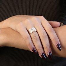 Серебряное кольцо Мэдэлин с золотыми накладками и кристаллами Swarovski