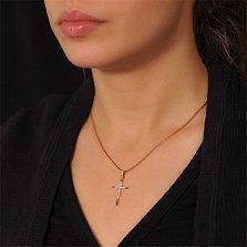 Крестик из золота Чистый свет с бриллиантами