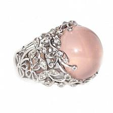 Золотое кольцо с бриллиантами и розовым опалом Porcelain