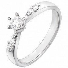 Золотое кольцо Нежное признание в белом цвете с бриллиантами