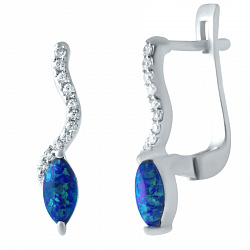 Серебряные серьги с синим опалом и фианитами 000075593