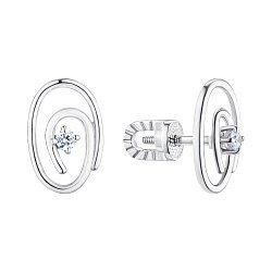 Серебряные серьги-пуссеты с фианитами 000148862