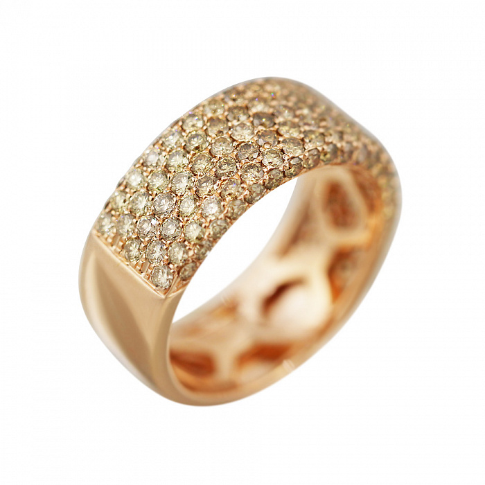 Кольцо из красного золота Саммер с бриллиантами цвета шампань 000080993