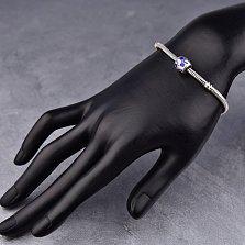 Серебряный шарм Лапки с синей эмалью