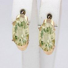 Золотые серьги с зеленым аметистом Лауретта