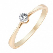 Кольцо из красного золота с бриллиантом Озарение души