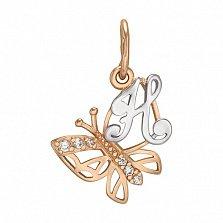 Золотой подвес Мотылек - буква Н с фианитами