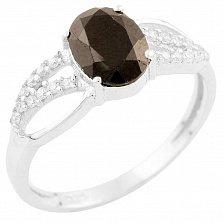 Серебряное кольцо Ситара с сапфиром и фианитами
