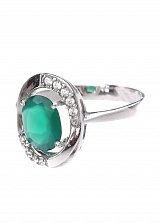 Серебряное кольцо Анила с зеленым агатом и фианитами
