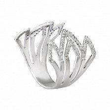 Серебряное разомкнутое кольцо Лилия с дорожками фианитов
