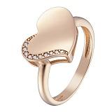 Кольцо в красном золоте Ева  с белыми или черными фианитами