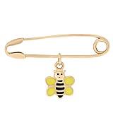 Золотая булавка с цветной эмалью Пчелка