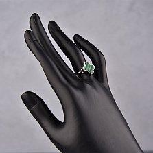 Серебряное кольцо Гринна с цветочком их малахита в стиле Ван Клиф