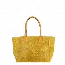 Кожаная сумка на каждый день Genuine Leather 7804 лимонного цвета на молнии и магнитной кнопке