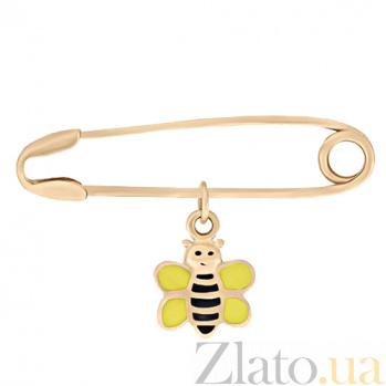 Золотая булавка с цветной эмалью Пчелка 000023311