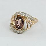 Золотое кольцо с раухтопазом и фианитами Вивиана