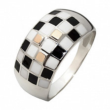 Кольцо из серебра с золотом Арлекин