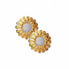 Золотые серьги с сапфирами и бриллиантами Маргаритка