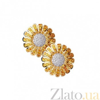 Золотые серьги с сапфирами и бриллиантами Маргаритка KBL--С2159/комб/сапф