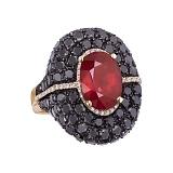 Золотое кольцо Maria с рубином и бриллиантами