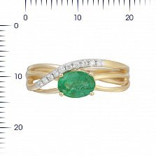 Кольцо из красного золота Мечтательница с изумрудом и бриллиантами