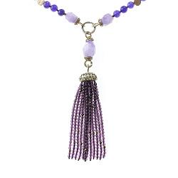 Бусы Фиолет с аметистом, агатом, муранским стеклом и кисточкой из бусин 000071375