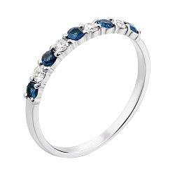 Кольцо из белого золота с сапфирами и бриллиантами 000127112