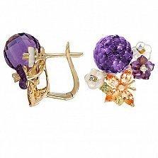 Золотые серьги с аметистами, топазами, хризолитами, перламутром и бриллиантами Нежное соцветие