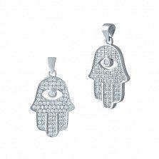 Серебряная подвеска-ладошка Хамса с белыми фианитами