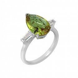 Серебряное кольцо Гаррияс с султанитом и белыми фианитами