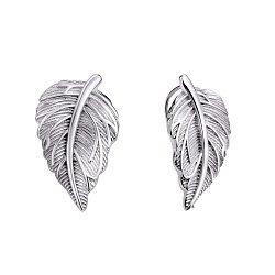 Серебряные серьги-каффы Листочки с фактурной поверхностью 000106834