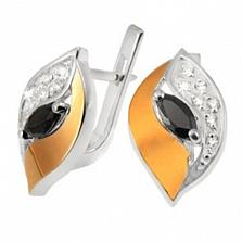 Серебряные серьги с золотыми вставками и фианитами Улыбка