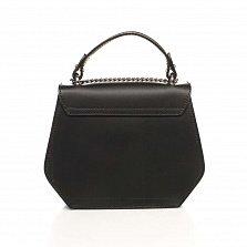 Кожаный клатч Genuine Leather 1733 черного цвета с декоративными заклепками и короткой ручкой