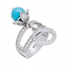 Серебряное кольцо с им.бирюзы Морской прибой