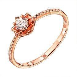 Кольцо из красного золота с фианитами и родированием 000136908