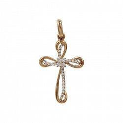 Крестик из красного золота с бриллиантами 000081083
