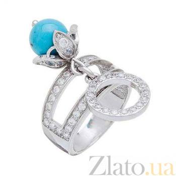 Серебряное кольцо с им.бирюзы Морской прибой AQA--7153527