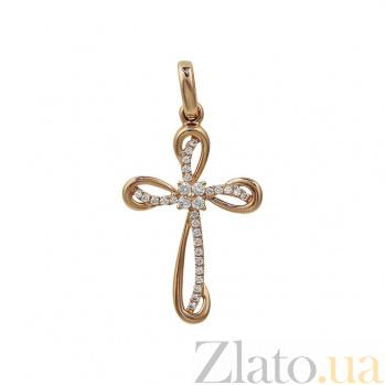 Крестик из красного золота Фантазия с бриллиантами 000081083