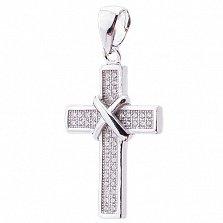 Серебряный крестик Защитный с фианитами