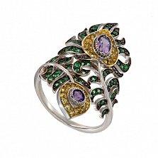 Кольцо Павлинье перо в белом золоте с разноцветными фианитами