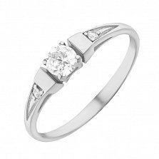 Золотое кольцо Илона в белом цвете с фианитами