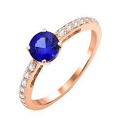 Золотое кольцо Осмика в красном цвете с сапфиром и фианитами
