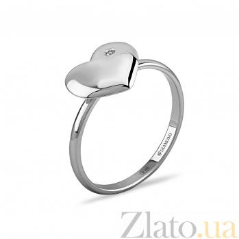 Серебряное кольцо Сердце ангела с бриллиантом 000098280