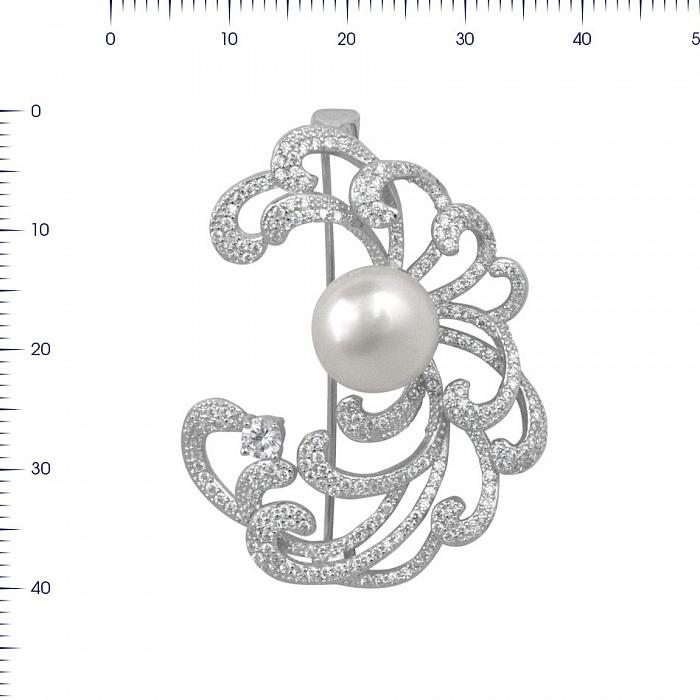 Серебряная брошь Мелания с жемчугом и фианитами 000081982
