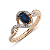 Золотое кольцо с сапфиром и бриллиантами Лилиан