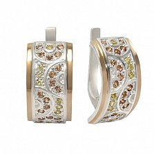 Серебряные серьги с  золотом и фианитами Прелесть