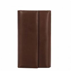 Кожаный кошелек Genuine Leather gf026 коричневого цвета с клапаном на кнопке