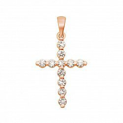 Золотой декоративный крестик в красном цвете с бриллиантами  000117161
