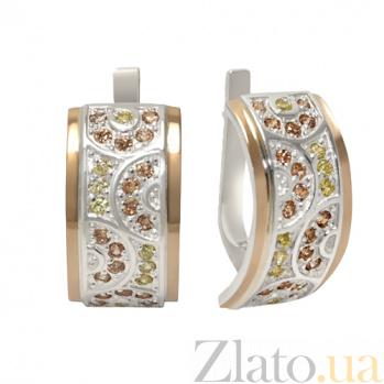 Серебряные серьги с  золотом и фианитами Прелесть 000033697
